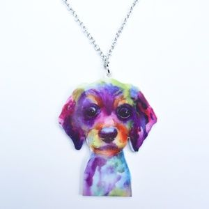 Jewelry - Adorable Puppy Cute Dog Acrylic Pendant Necklace